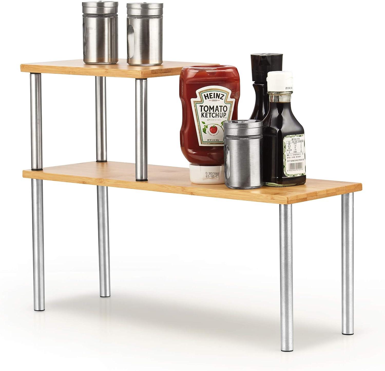 Cook N Home Counter Storage Shelf Organizer, Rectangle, 2 Tier, Bamboo