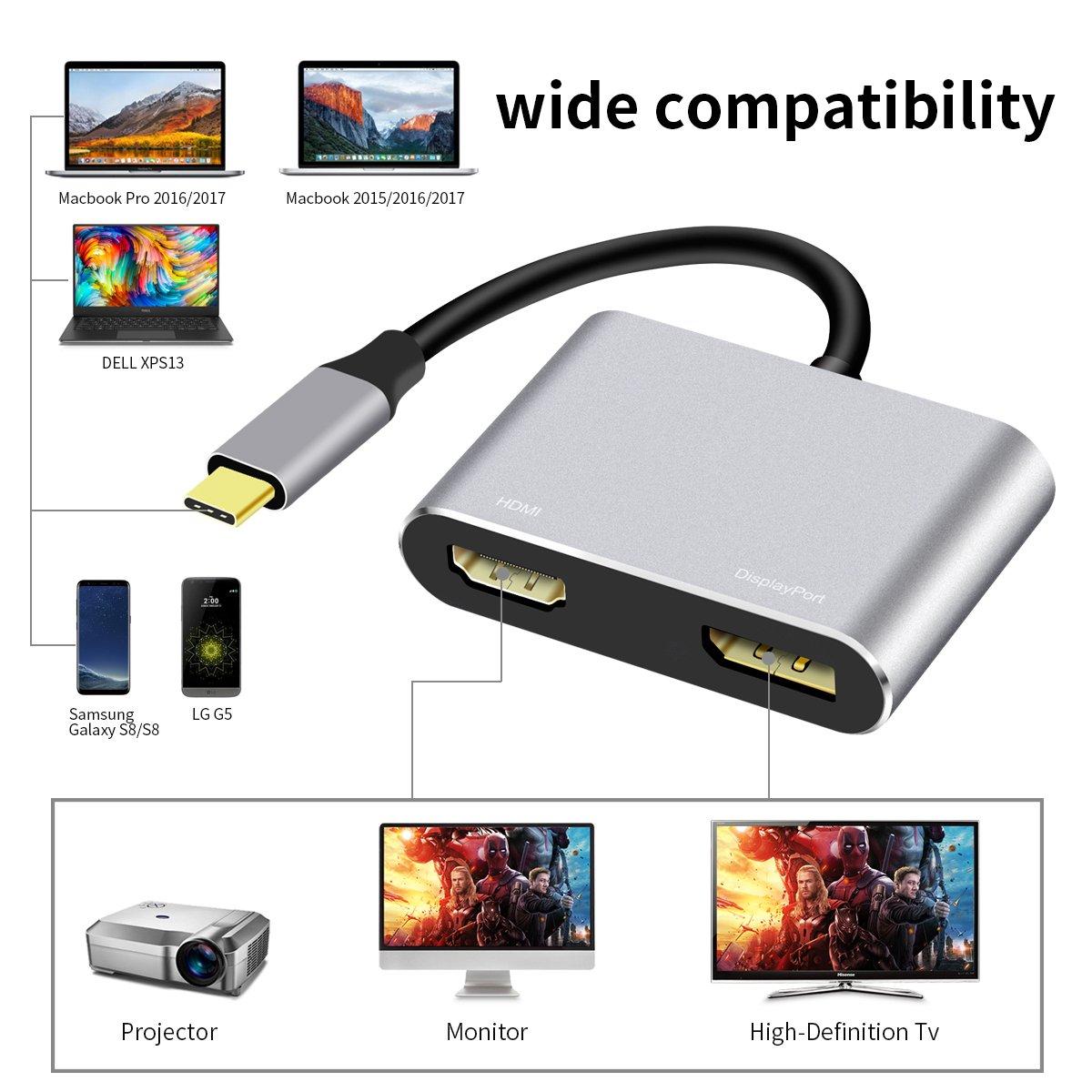 USB C to HDMI, USB-C (Thunderbolt 3) to Displayport (DP) 4K (60 HZ) UHD Converter Adapter