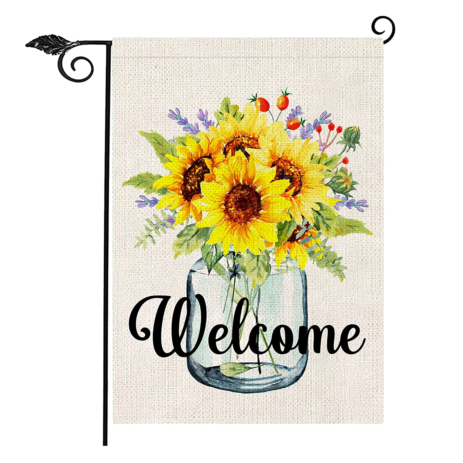 Sunflower Welcome Garden Flag, Double Sided Farmhouse Summer Garden Flag Vertical Garden Flags for Outside Decoration Small Garden Flags 12x18 Prime Yard Signs