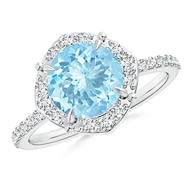 Angara Vintage Diamond Halo Sideways Cushion Aquamarine Claw Ring 4BTs0y