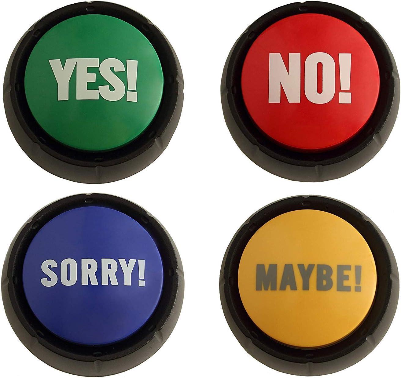 viele verschiedene Sounds YES /& NO! 2er Set Buzzer Button im Geschenkkarton