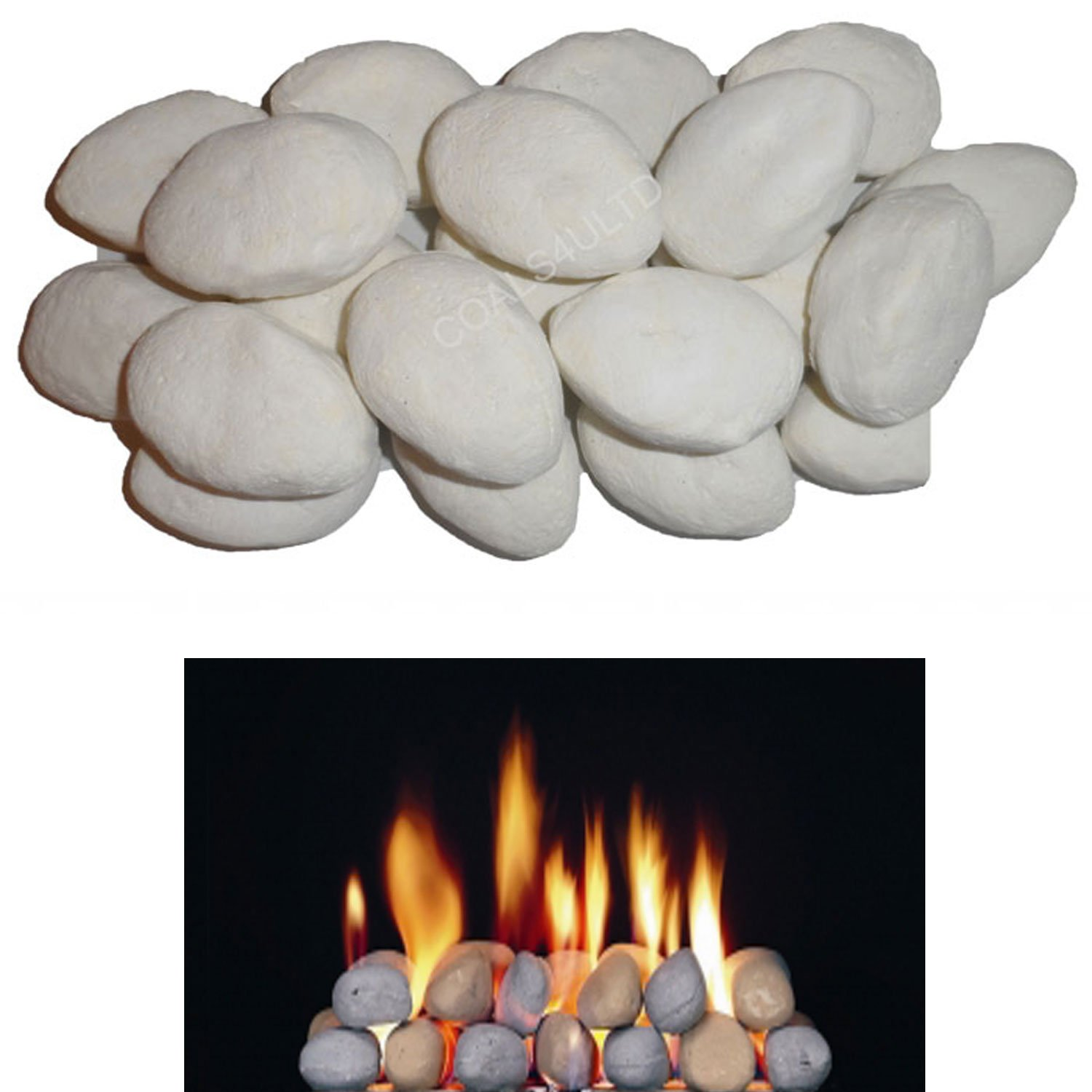 10 Gas Fire Replacement White Pebbles For Coal Fire BY COALS 4 YOU