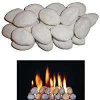 15 Gas Fire Replacement Ceramic Pebbles Replacements/Bio Fuels/Ceramic/Boxed (White) IN BRANDED COALS 4 YOU PACKING