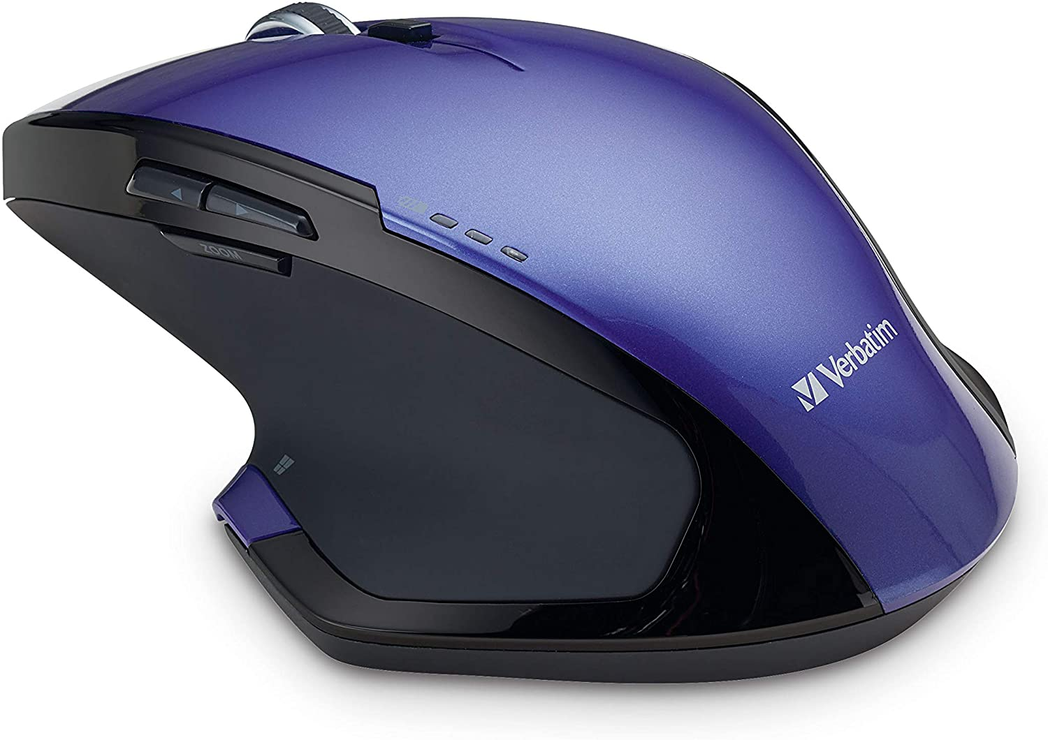 Verbatim Wireless Desktop 8-Button Deluxe Mouse - Ergonomic, Blue LED, Portable Mouse for Mac and Windows – Purple