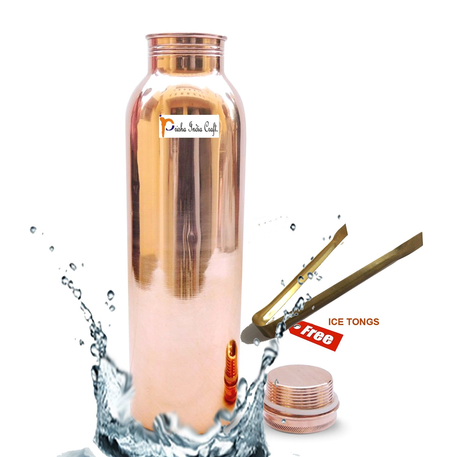 Prisha India Craft Pure Copper Water Bottle/Handmade Leak Proof Copper Vessel for Travel/JointFree Insulated Copper Thermos with Ayurvedic Health Benefits, 30 Ounce