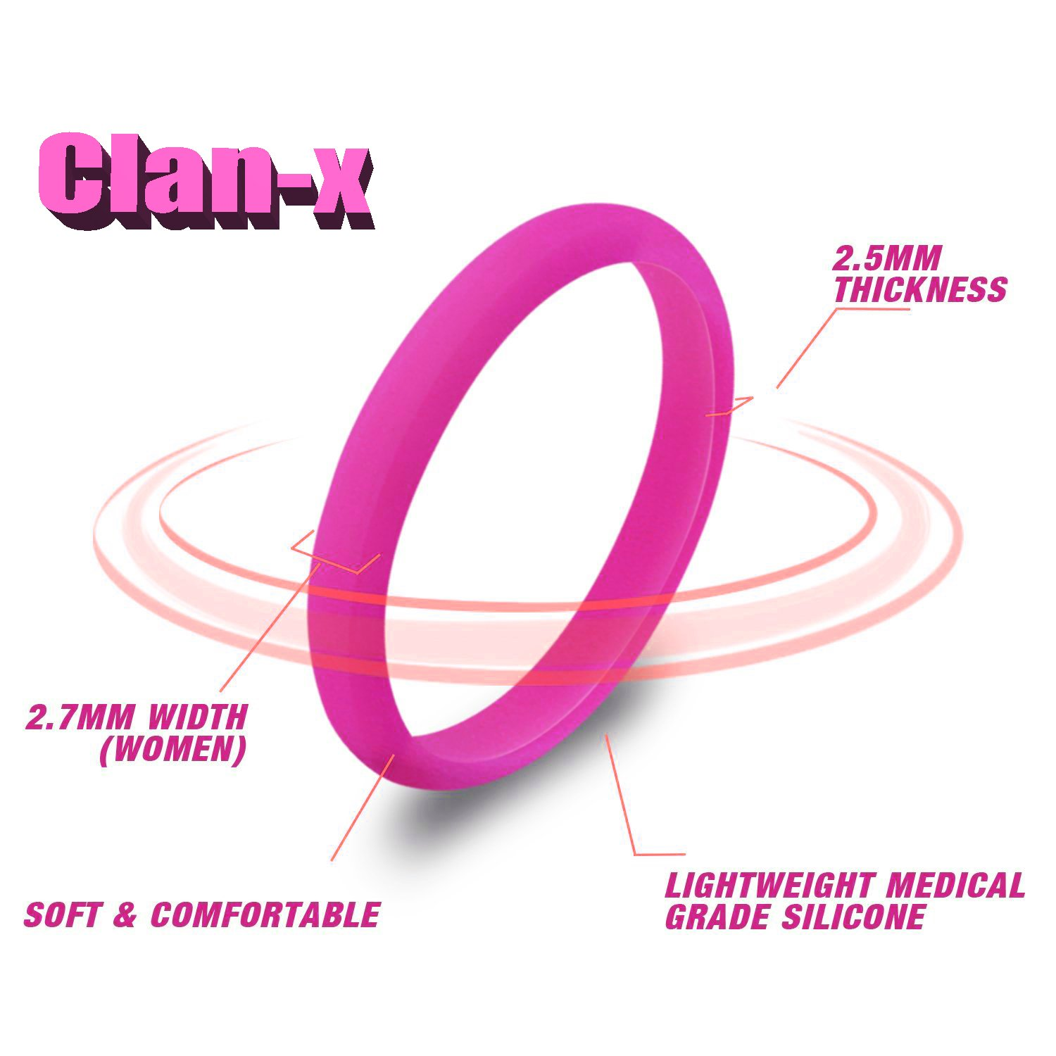 CLAN-X Stackable Silicone Rings, 8 Pack & Singles Silicone Wedding Bands for Women&Men - Diamond Pattern By (pink green black, 10)