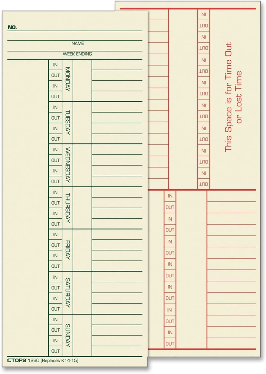 """TOPS Time Cards, Weekly, 2-Sided, Named Days, 3-3/8"""" x 8-1/4"""", Manila, Green/Red Print, 500-Count (1260)"""
