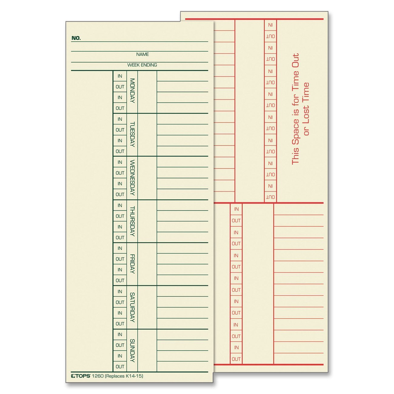 TOPS Time CardS, 8.25 X 3.38 Inch, Weekly Format, Green Ink Front, Red Ink Back, 100 Cards, Manila (12603) TOPS Business Forms Inc.