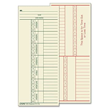 Amazon.com : TOPS Time Cards, Weekly, 2-Sided, Named Days, 3-3/8 ...