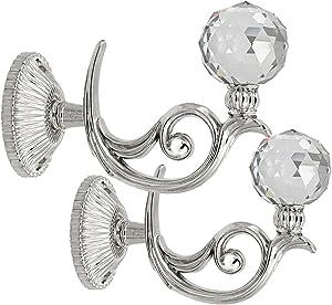 BTSKY Pair of Phoenix Glass Crystal Curtain Holdbacks Hooks Drapery Tiebacks Tassel holder (Silver)