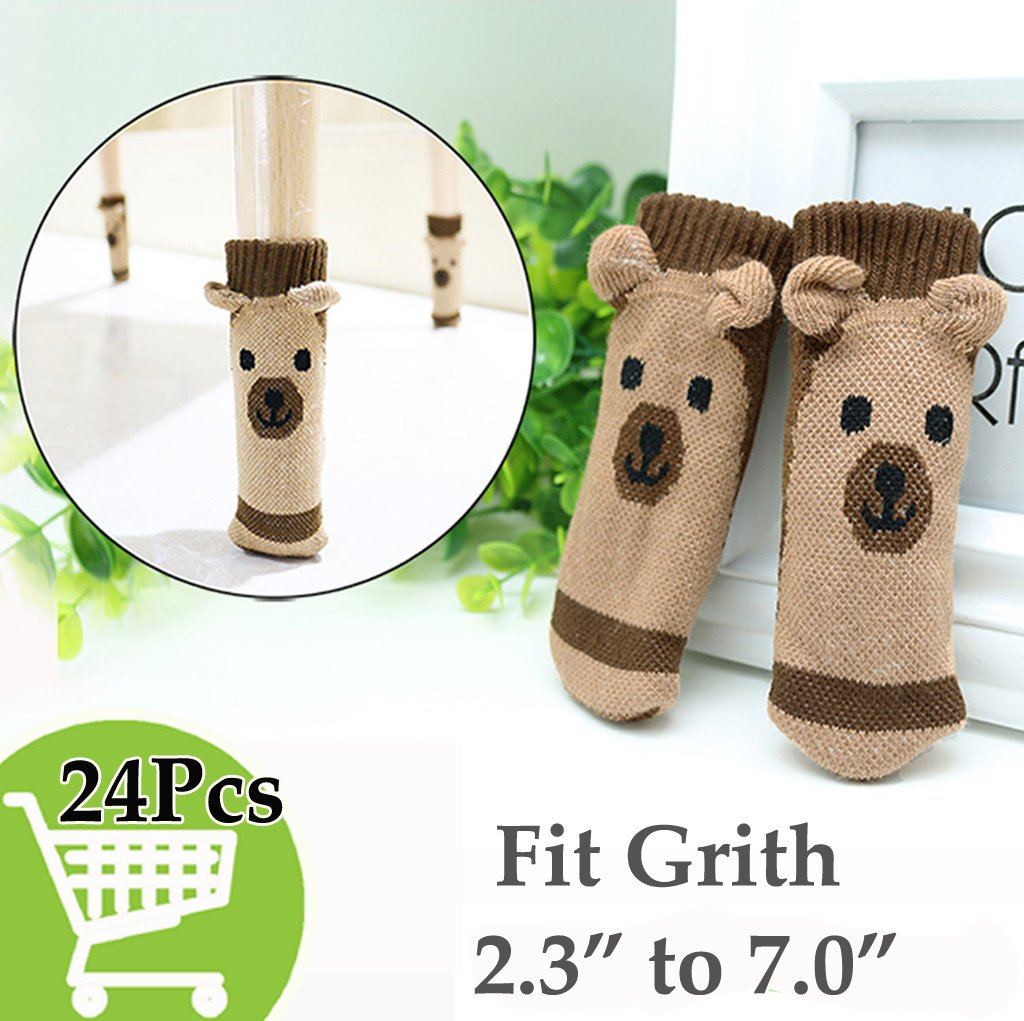 Xsorter Chair Socks 24-Pack, Brown Furniture Socks, Elastic Chair Leg Protectors with Cute Vivid Bear Wool Knitting to Silently Protect Hardwood and Tiles Floor from Scratches (Vivid Bear 24pcs)