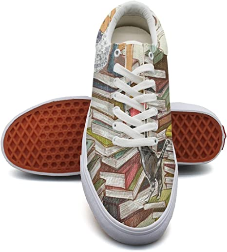 Ouxioaz Womens Skateboarding Shoes Art Painting Books Casual Canvas Shoes