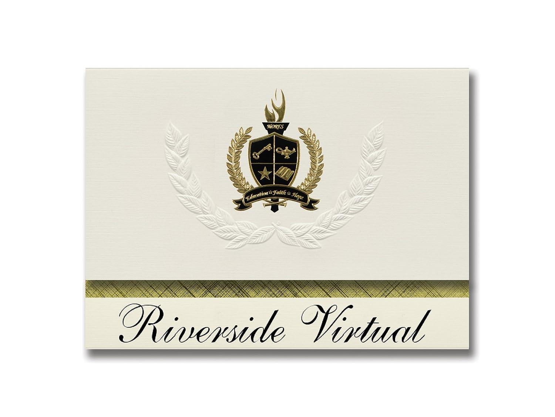 Signature Ankündigungen Riverside Virtual (Riverside, CA) Graduation Ankündigungen, Presidential Stil, Elite Paket 25 Stück mit Gold & Schwarz Metallic Folie Dichtung B078VF6LH4 | Modern Und Elegant