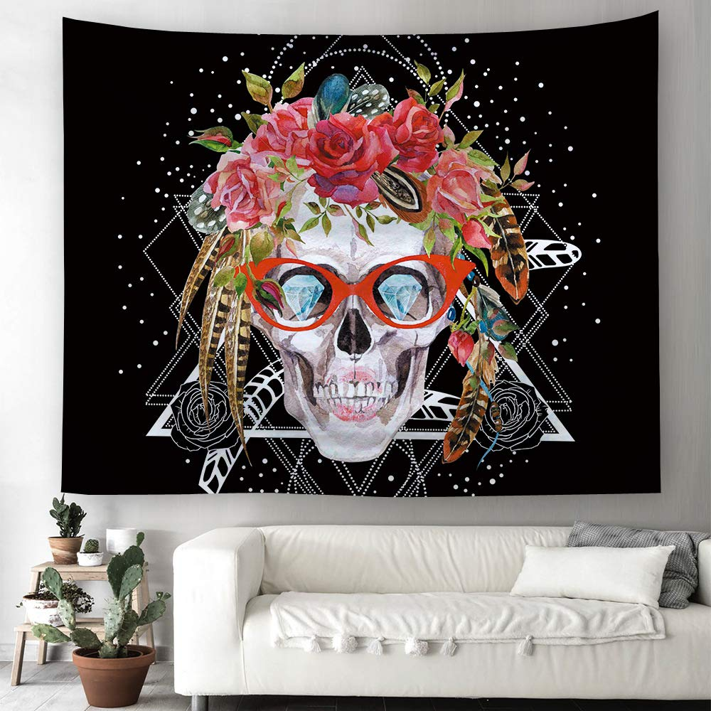 Today Gifts Skull Flower Tapestry Wall Hangings Halloween Hippie Bohemian Tapestries Table Cloth Home Decor Living Room Bedroom 100x150cm