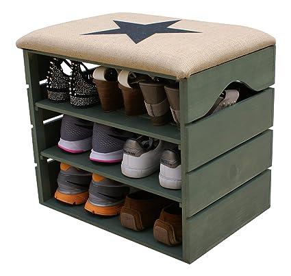 LIZA Mobile scarpiera di Legno, Verde Kaki, Ingresso con Sedile Comodo, Rivestito di Tessuto. Panca portaoggetti con Ripiani Multiuso per conservare e