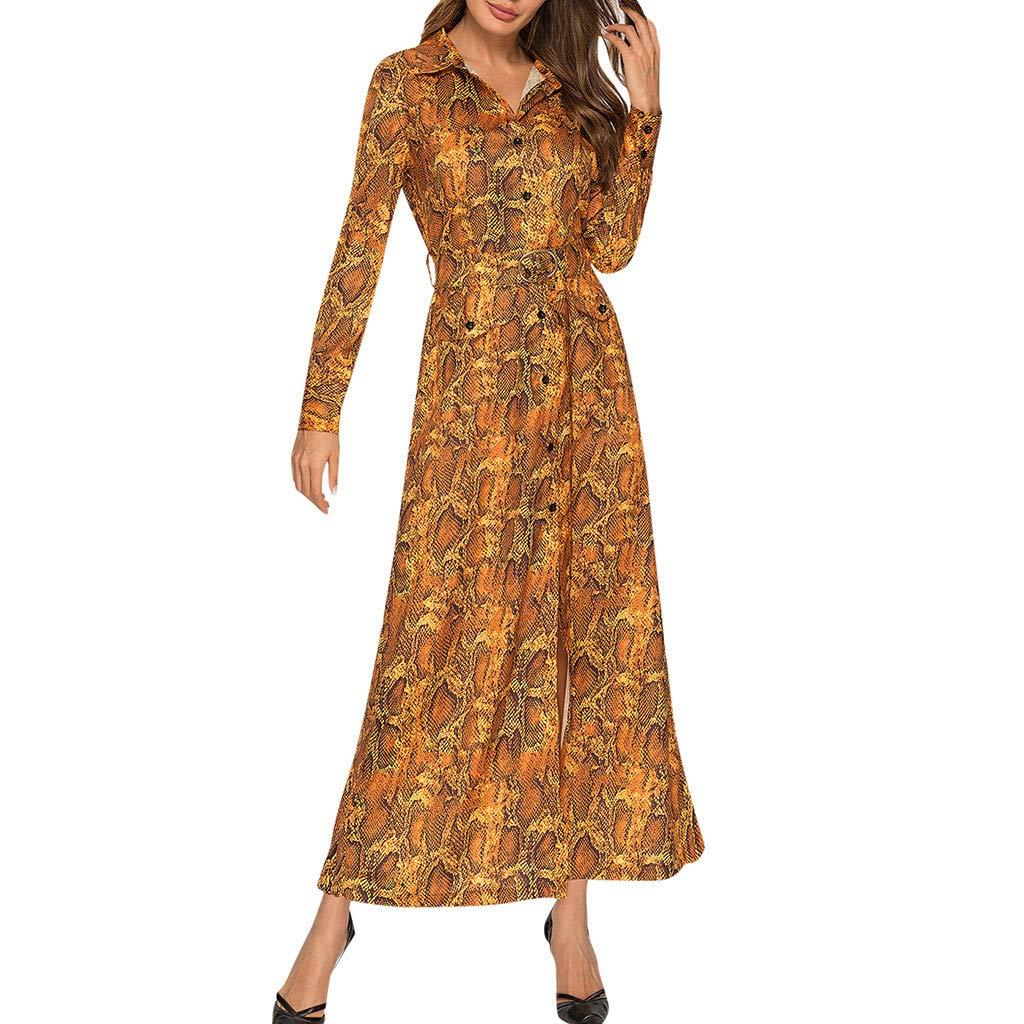 Women's Vintage Snake Print Long Sleeve Ladies V-Neck Ankle-Length Dress Yellow