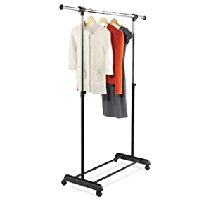 Honey-Can-Do GAR-01124 Expandable Garment Rack, Chrome/Black,