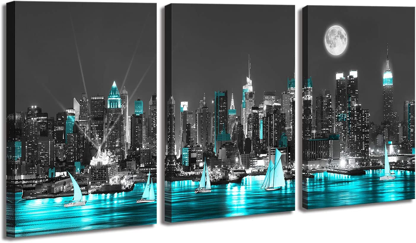 """Yang Hong Yu Black and Aquamarine Wall Art Canvas New York City Night Scenes Sailboat Modern Cityscape Building Artwork Picture Painting for Bedroom Home Office Living Room Decor 16""""x24"""""""