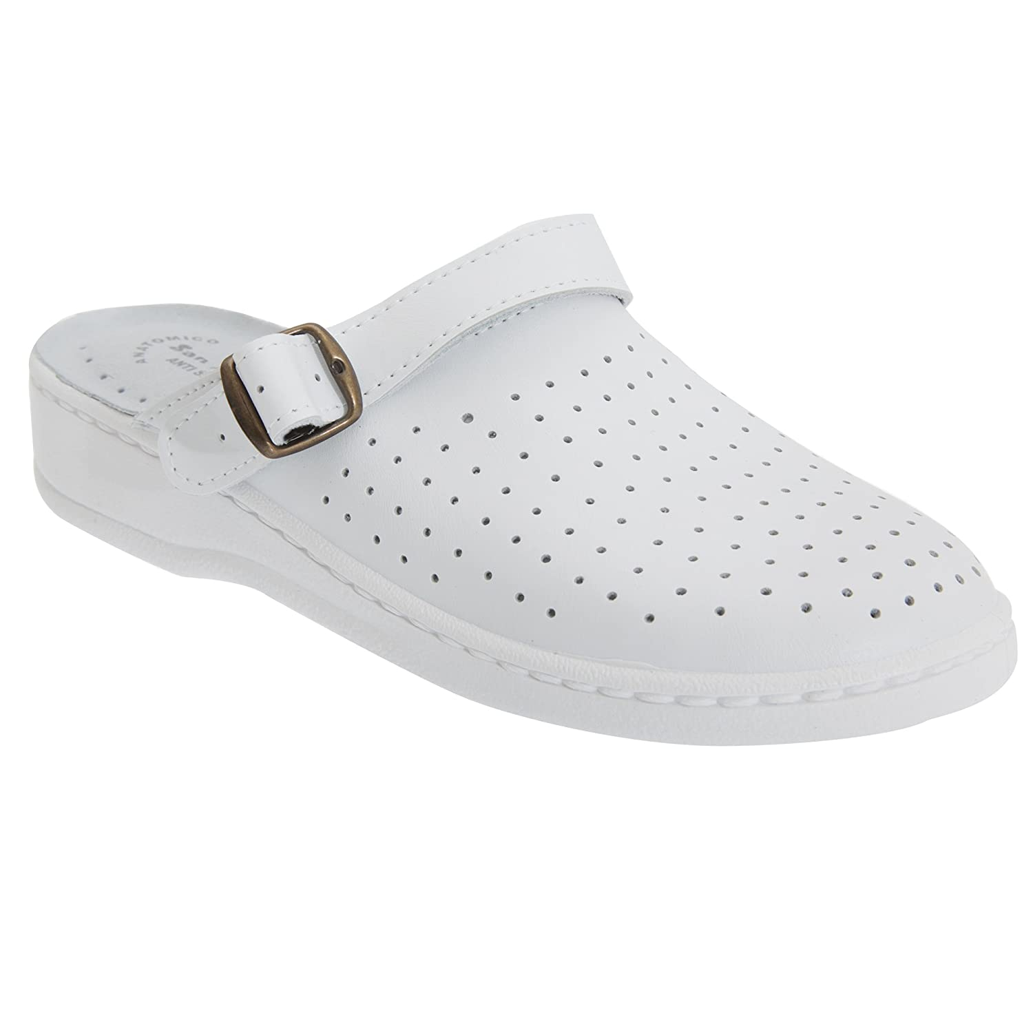 7 US, White DEK Unisex Swivel Bar Coated Leather Clogs UTDF734/_8