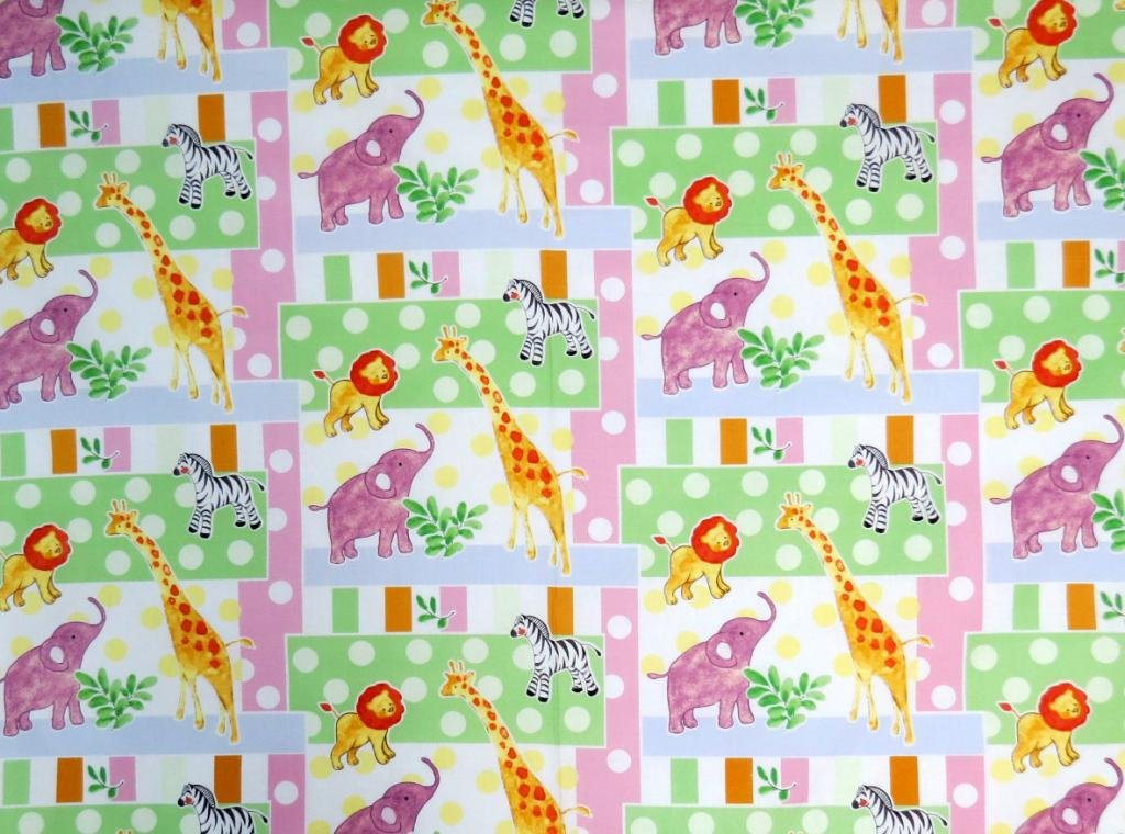 SheetWorld Fitted Pack N Play (Graco Square Playard) Sheet - Jungle Animals & Dots - Made In USA