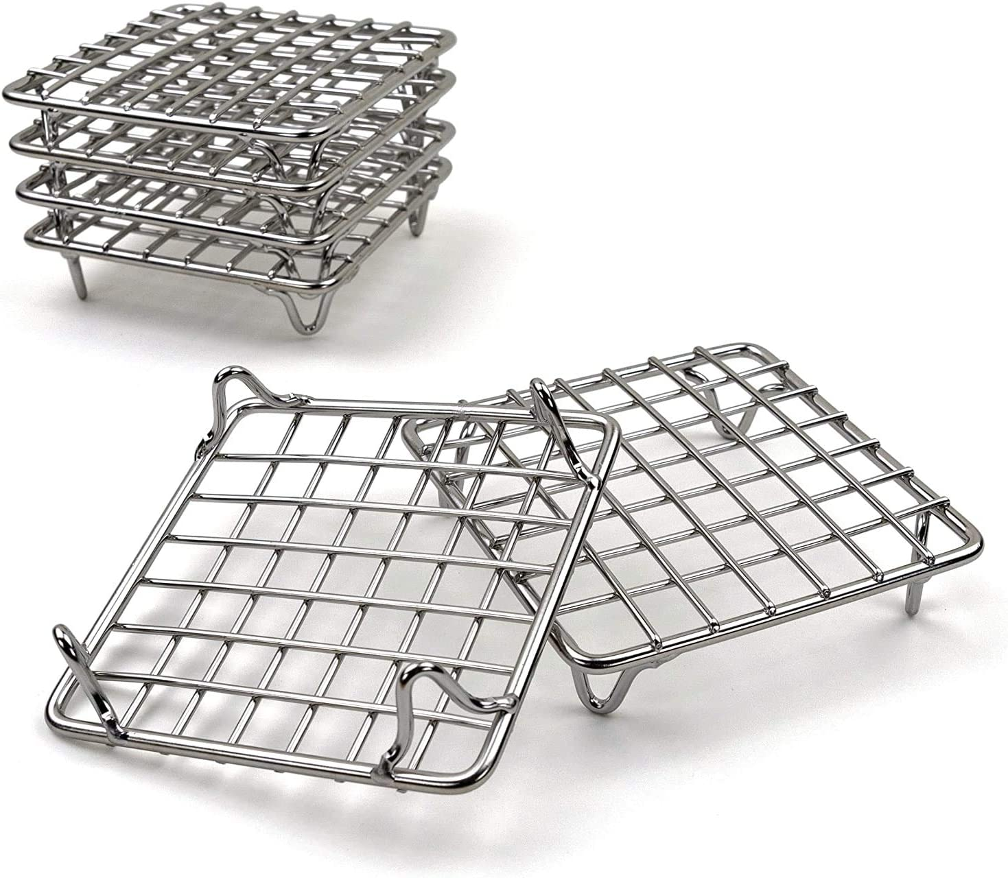 Metal Trivet Stand for Cooking with Pots Steaks Cupcakes Hot Dishes Wire Racks for Cookies Cakes Set of 6 Stainless Steel Mini Baking Cooling Baking Rack Pans