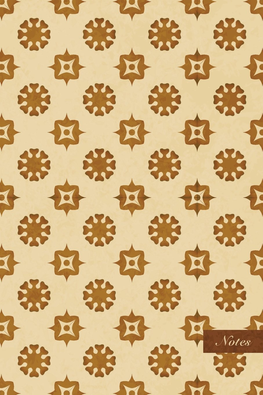 "Download Notes: 6""x9"" Ruled Lined Notebook - Round Kaleidoscope Geometry Flower - Retro Brown Worn Out Vintage Seamless Pattern Cover. Matte Softcover And Cream Interior Papers. ebook"