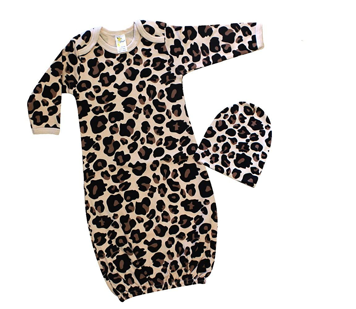 7ebca33f5 Laughing Giraffe Baby Girl Sleep Gown & Beanie Hat Set (0-3M, Leopard)