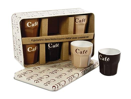 3 opinioni per Delys-By-Verceral 509389- Lotto di 6 tazzine per caffè, in ceramica e metallo,