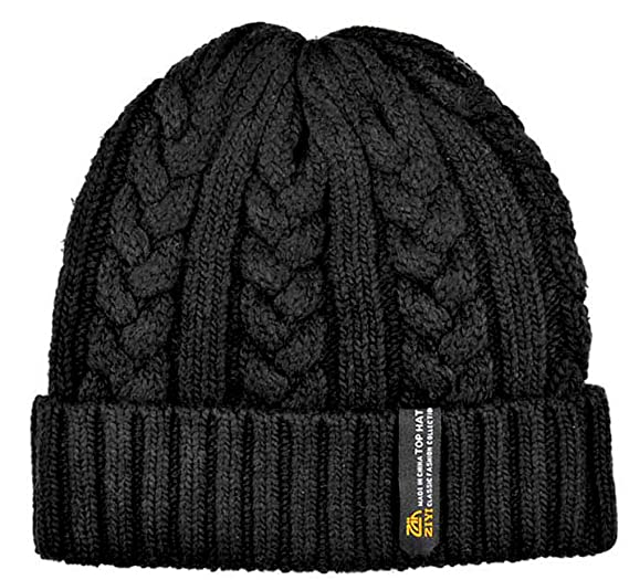 0cdab30d6f4 Yamimi Men s Oversize Cuff Cable Knit Beanie Black at Amazon Men s ...