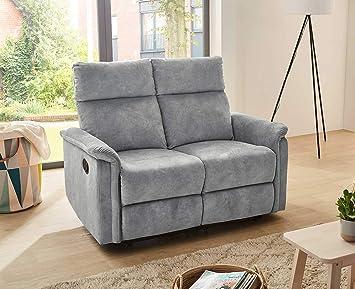 Lifestyle4living 2 Sitzer Sofa In Grauem Velour Mit Praktischer