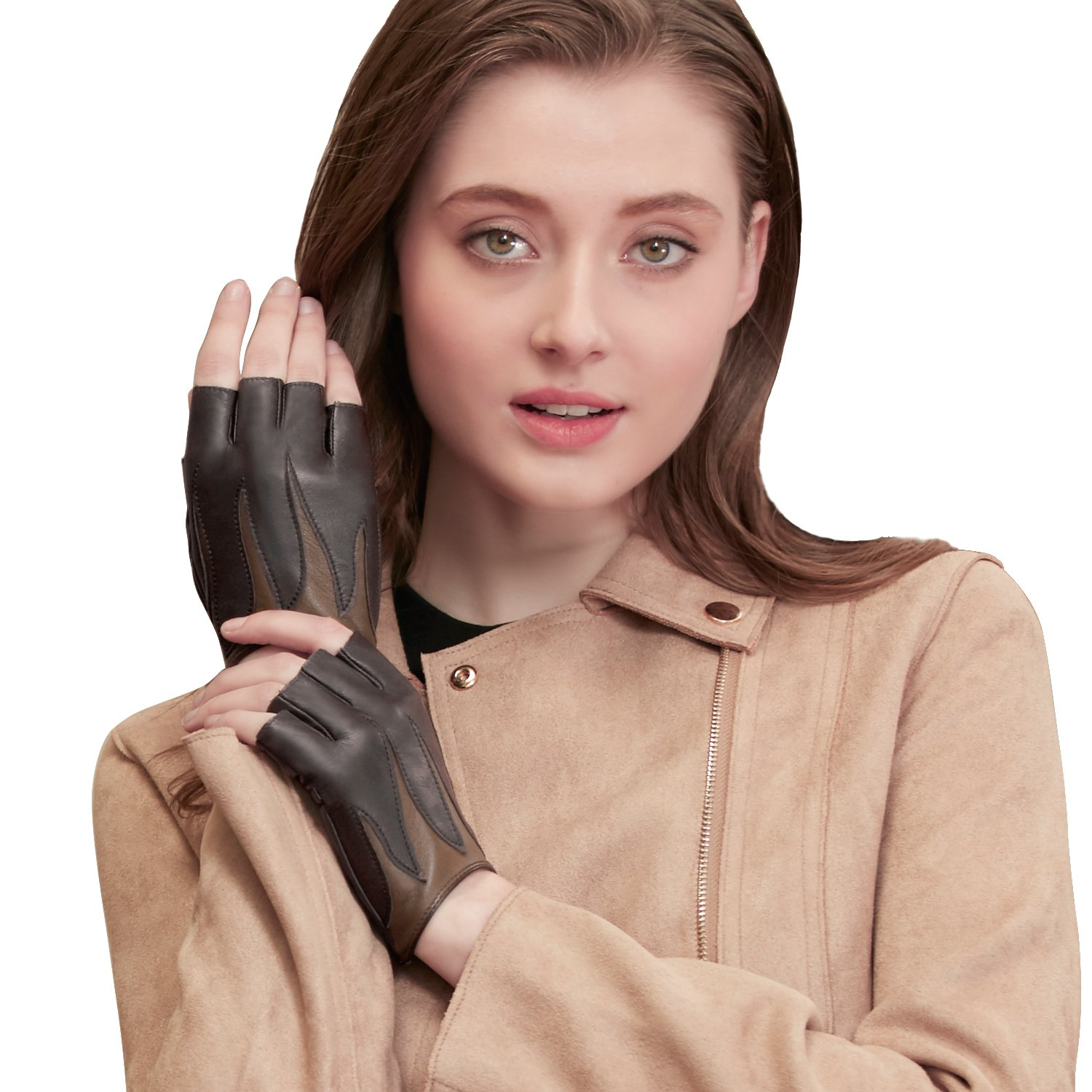 GSG Two-tone Fire Pattern Womens Fingerless Gloves Stylish Genuine Leather Half Finger Driving Gloves Party Dance Show Brown 7