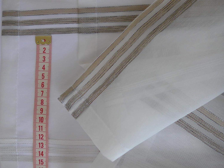 Gardinen R/öttger Minifl/ächen-Set Organza braun quer gestreift Scheibengardine