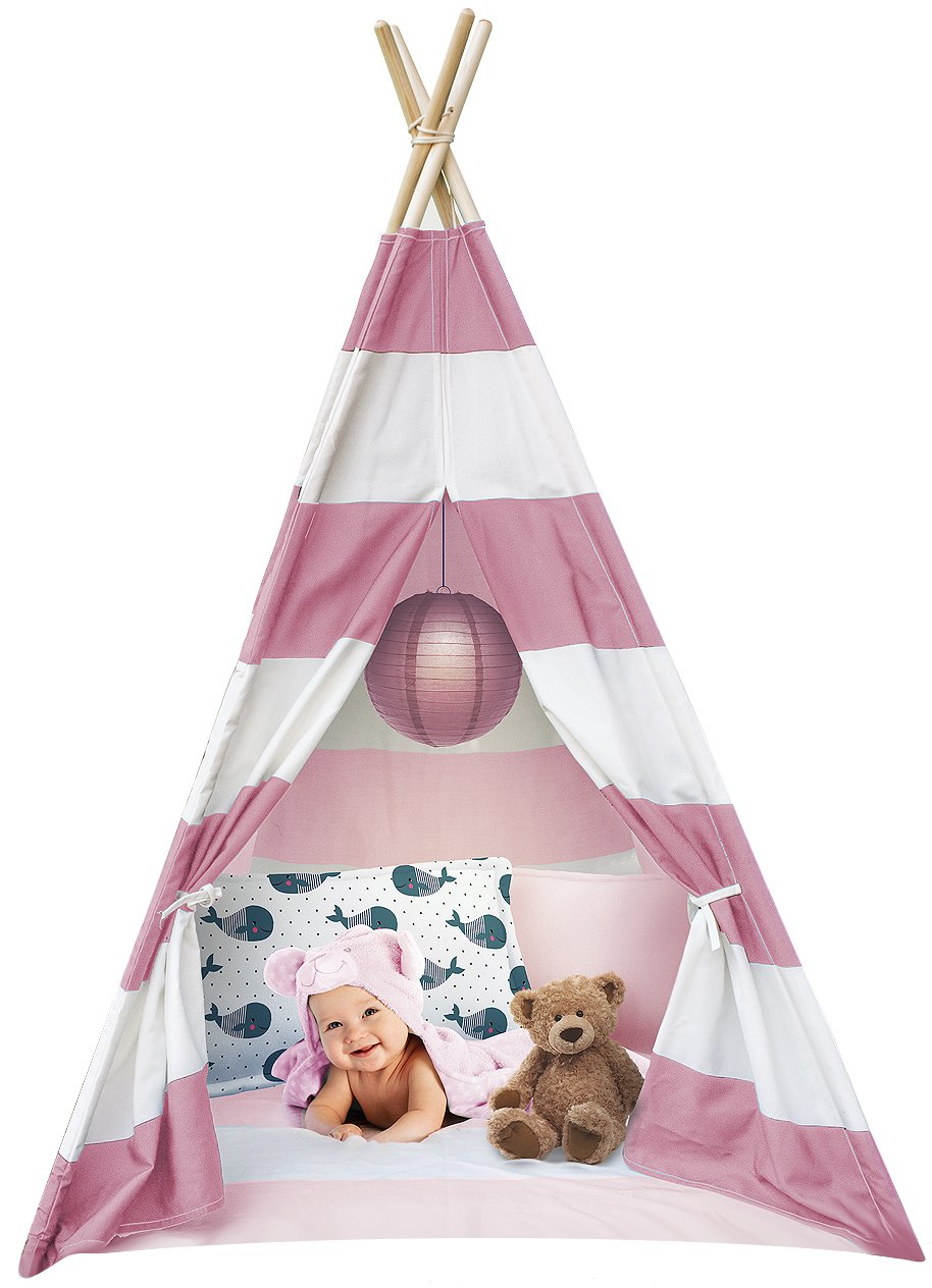 Sorbus Kids Foldable Teepee Play Tent Playhouse Classic Indian Style Play Tent and Carry Bag, Walls with Door, Window and Floor (White and Pink)