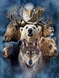 DIY 5D Diamond Painting Kit Embroidery Rhinestone Cross Stitch Arts for Craft Home Wall Decor Deer Bear Wolf 30 x 40 cm / 11.87 x 15.75 inches