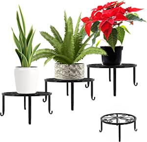 Metal Plant Stands Indoor Outdoor Set of 3, Modern Potted Display Stand, 9 inches Flower Pot Planter Holder Rack Shelf for Patio Garden, Living Room, Corner Balcony and Bedroom (Black, Round)