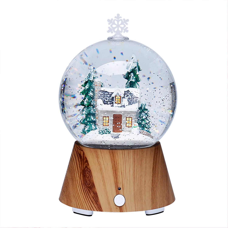 EFGS LED-Baum-Haus-Kristallkugel-Nachtlicht, Bunter Drahtloser Blautooth-Lautsprecher-Feste Hölzerne Niedrige Schlafzimmer-Nachttisch-Lampe, Weihnachtsvalentinstag-Geschenk