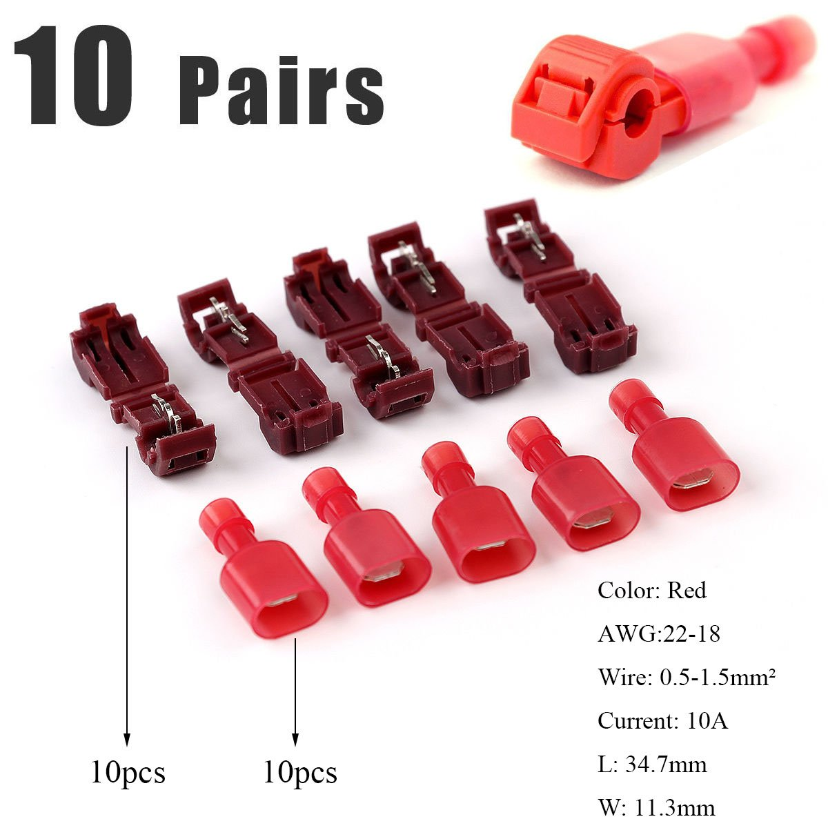 Gasea 60pcs T-Tap Connectors Quick Splice Spade Wire Connectors Electrical Wire Crimp Terminals Self-Stripping with Nylon Fully Insulated Male Quick Disconnects Kit,30 Pairs