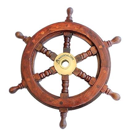 Nautical Cove Wooden Ship Wheel 12u0026quot; Pirate Decor, Ships Wheel For Home,  Boats