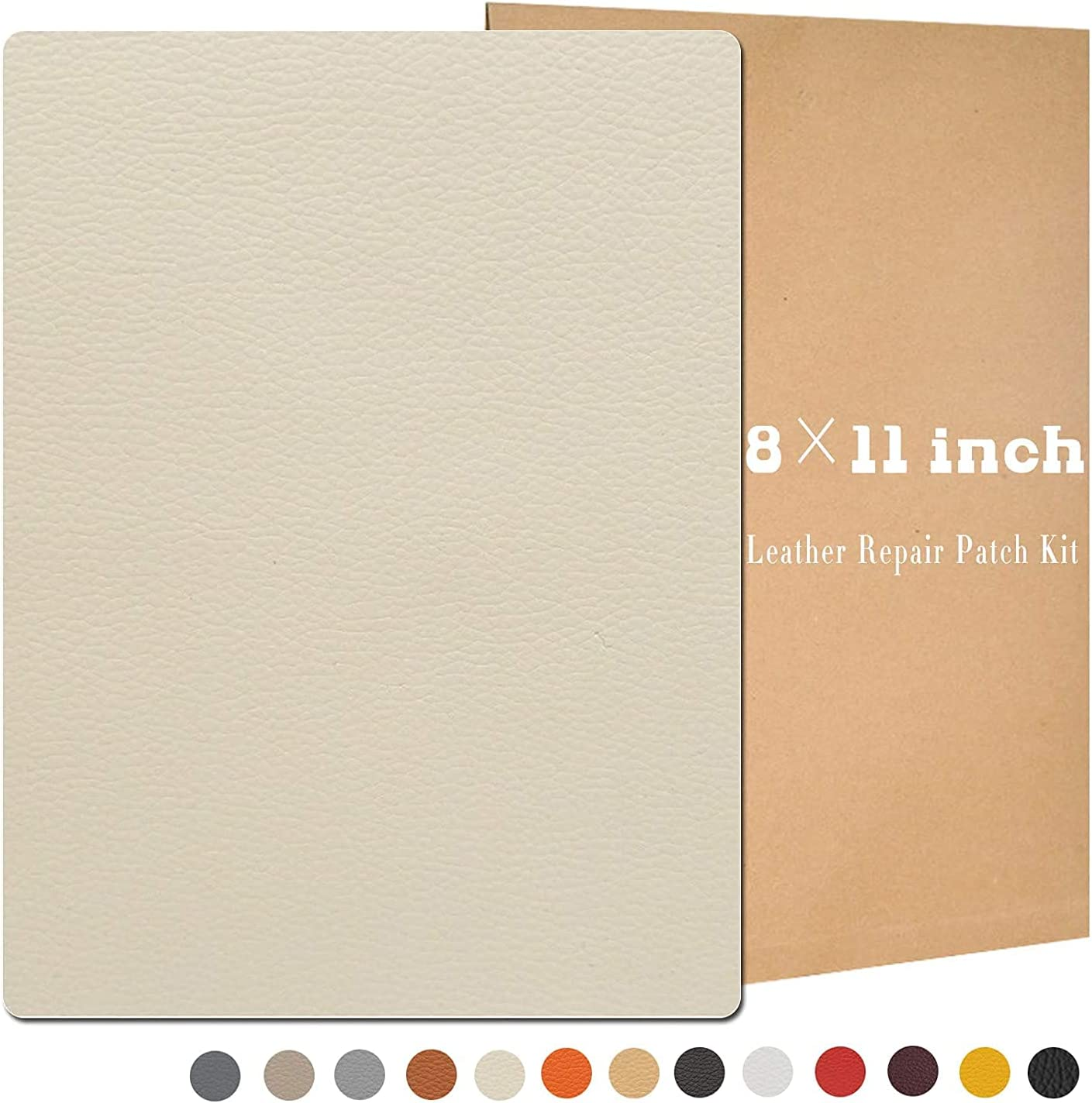4 Pcs 8 × 11inch Leather Repair Patch Kit, Self-Adhesive Sticker for Leather and Vinyl Repair, First Aid Kit for Furniture, Sofas, Couch, Car Seat, Belts, Handbags, Jackets 7 Colors Available (Cream)