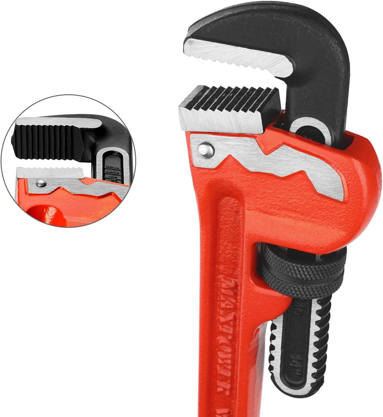 MAXPOWER Heavy Duty Pipe Wrench 24-Inch 600mm Red Heat-Treated Cr-Mo Floating Hook Jaw and Ductile Casting Iron I-Beam Handle Straight Pipe Wrench with Drop Forged