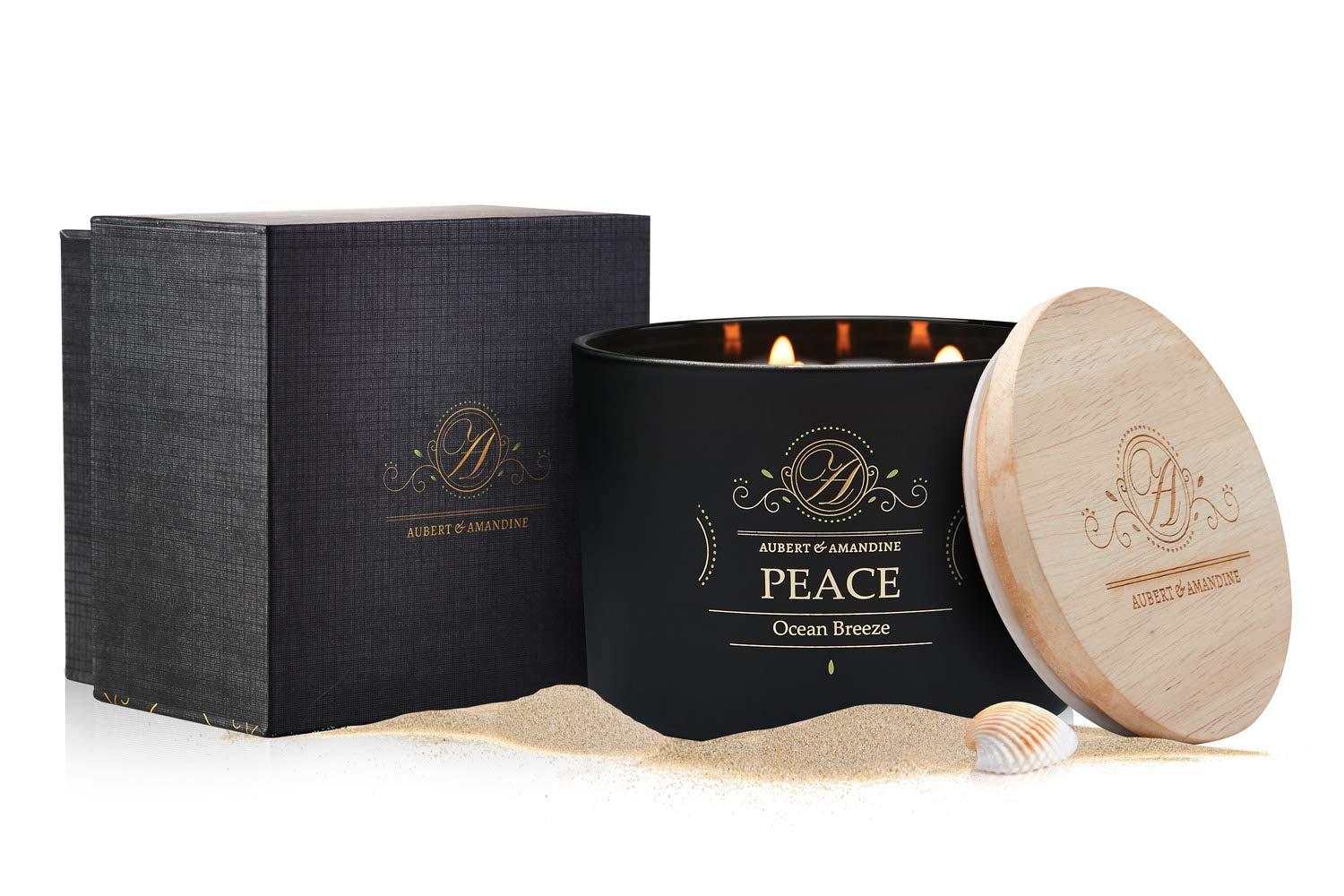 Aubert & Amandine Peace Cedar Bergamot Luxury Scented 3 Wick Soy Candle for Stress Relief & Relaxation High Intensity Aromatherapy