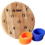 Wooden Hook Ring Toss Game by Rally and Roar for Adults, Families - Premium, Durable Ring Tossing Game Board with Two Colors for Parties, Man Caves - Easy to Mount, Indoor and Outdoor Bar Games