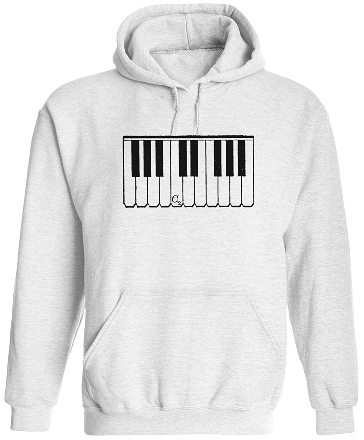 Austin Ink Apparel Small Piano Keys Unisex Adult Hooded Pullover Sweatshirt