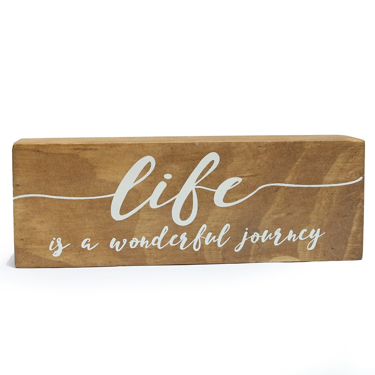 """NIKKY HOME 8"""" Wooden Box Sign, Life is A Wonderful Journey"""