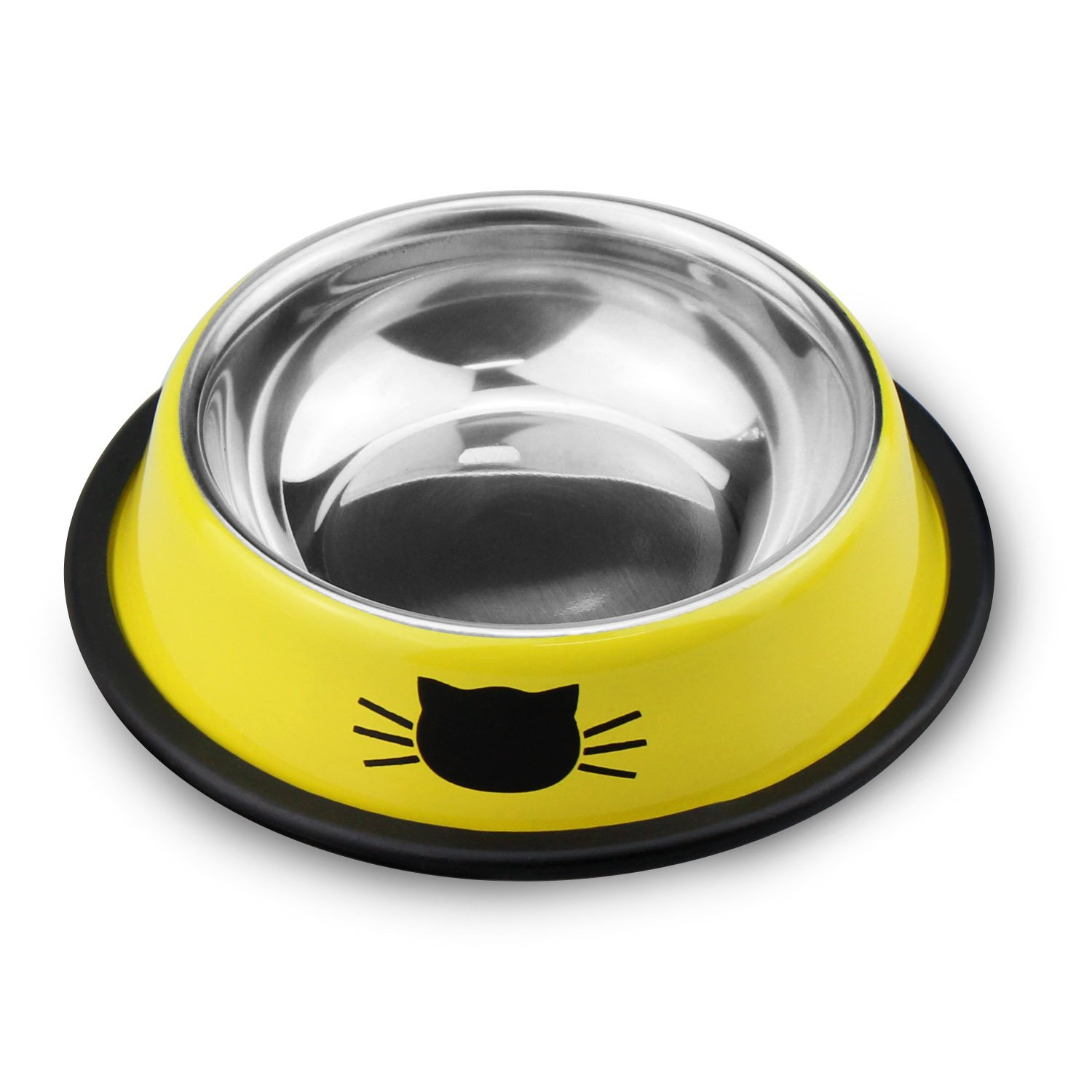 Comsmart Stainless Steel Pet Cat Bowl Kitten Puppy Dish Bowl with Cute Cats Painted Non-Skid for Small Dogs Cats Animals (Set of 2) (Yellow/Yellow) by Comsmart (Image #4)