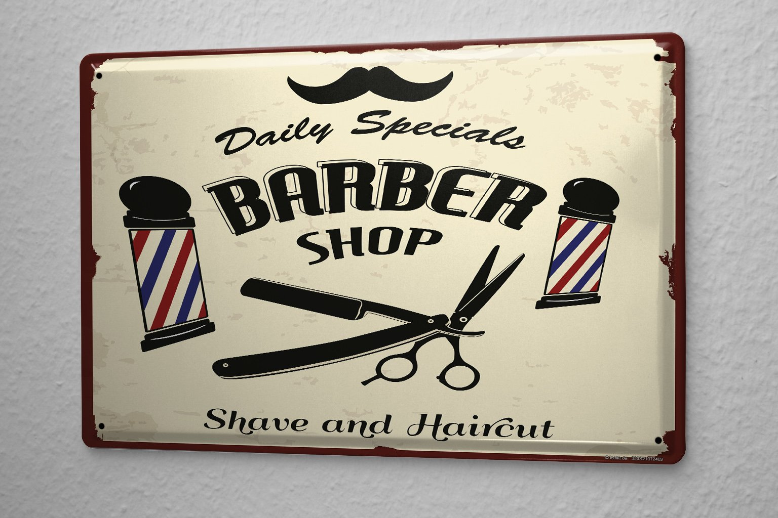 Tin Sign Office Workshop Barbershop Vintage