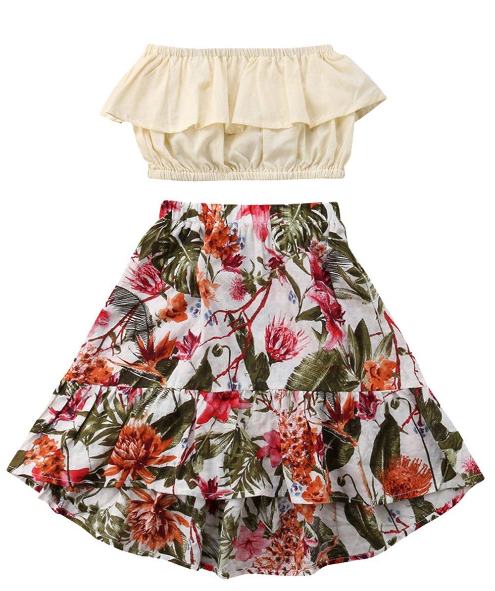 LOliSWan Little Girl Summer Dress Beach Dress Sundress Bra Dress Casual Dress Pleated Tube top Floral Print Long Skirt (Beige+Floral, 5-6 Years)