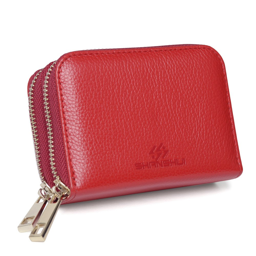 Credit Card Holder,SHANSHUI RFID Blocking Primely Genuine Leather Coin Purse,Twin Golden Metal Zippers Sectioned Concertina- Gift Boxed for Mother's Gift (Red)