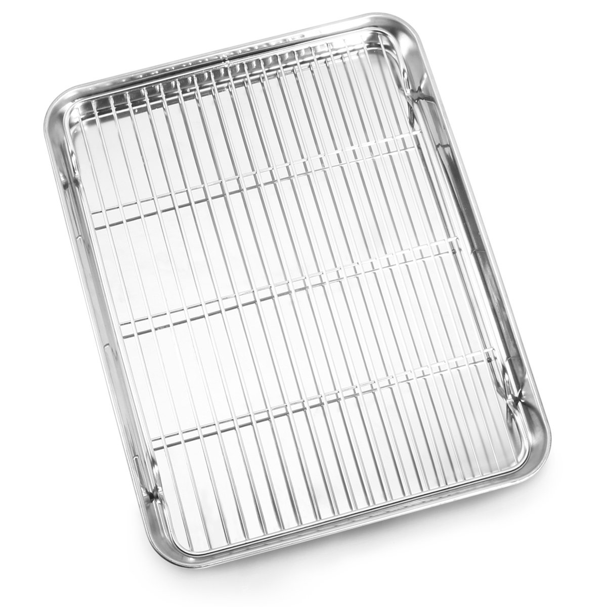 Bastwe Baking Sheet and Cooling Rack Set, Stainless Steel Commercial Grade Cookie Sheet and Rack Set, 12 x 10 x 1 inch, Healthy & Nontoxic & Rustproof & Easy Clean & Dishwasher Safe