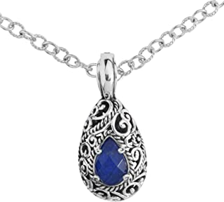 "product image for Carolyn Pollack Sterling Silver Blue Lapis Lazuli Doublet Pendant Enhancer Necklace 18"" Long"